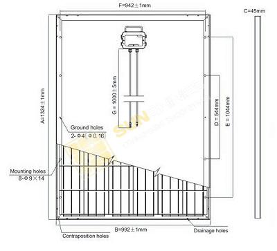 Размеры солнечной батареи 200Вт