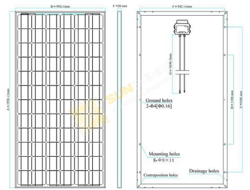 Размеры солнечной батареи 320 Вт